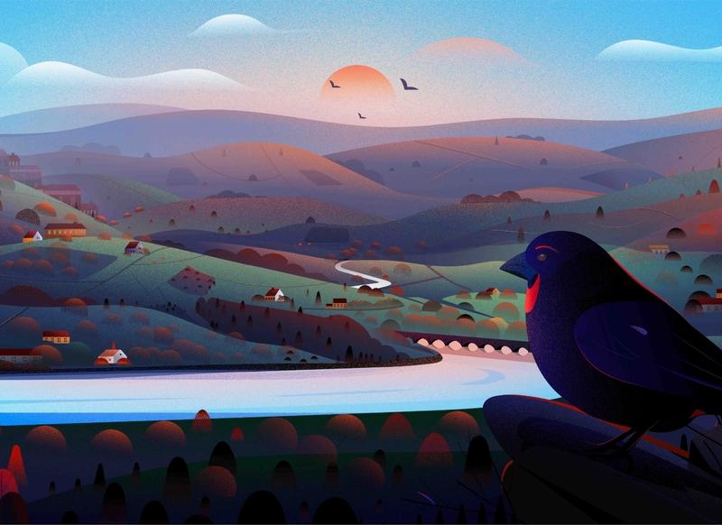 Blackfinch Group Illustrations natural river house uk evening light hill bird tree vector nature illustration nature landscape illustration