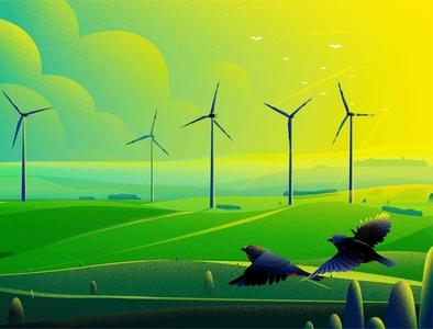 Energy hill green morning bird finch windmill uk sun tree light nature landscape energy illustration