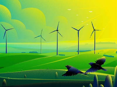 Energy hill green morning bird finch windmill uk sun tree light nature landscape energy illustration