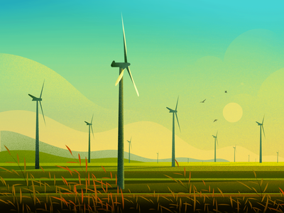 Windmill sunset bird vector nature light tree hill landscape illustration windmill