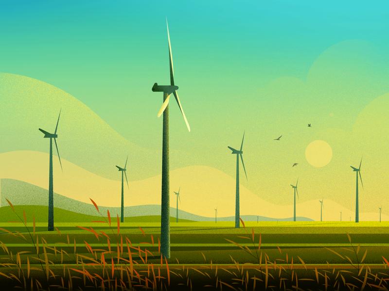 Windmill sunset bird vector nature light tree hill landscape illustration windmill