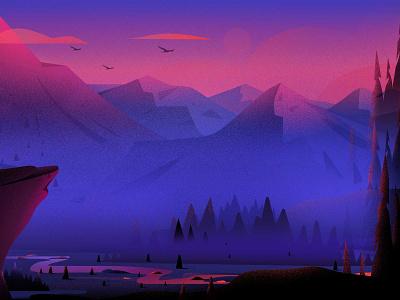 Resource Management illustraion website man winter sunset light evening illustrations tree landscape nature web