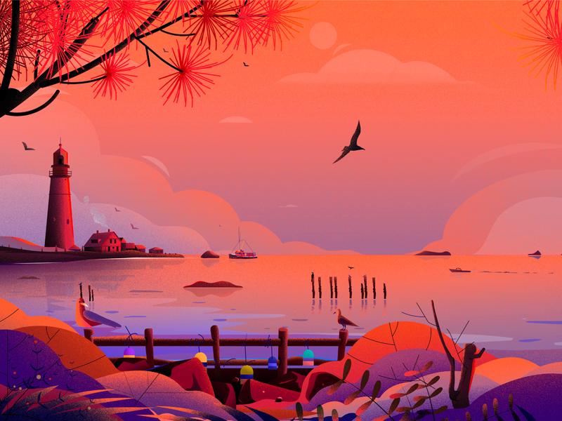 Portland Head Light bird lighthouse package nature illustrations see cost tree light landscape illustration