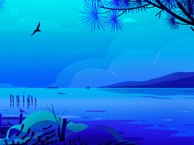 Portland Head Light blue bird illustrations vector lighthouse light tree nature landscape illustration