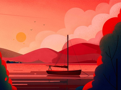 Boat evening illustrations sunset pixelmator vector hill light tree nature landscape illustration