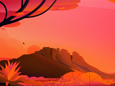 Desert sunset desert bird hill vector illustrations light tree nature landscape illustration