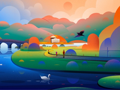 British Landscape bird hill tree swan light british vector illustrations nature landscape illustration