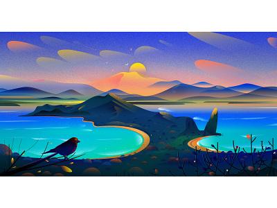 Galapagos sun light illustrations coast sea bird mountain cloud vector island nature landscape galapagos illustration