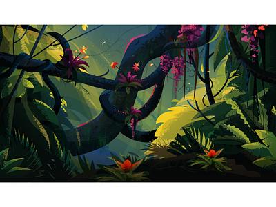 Jungle green light blue leopard bird vector illustrations tree nature landscape forest jungle illustration