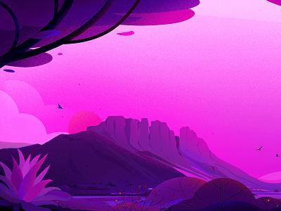 Desert bird nature vector sunset evening illustrations purple light tree landscape illustration