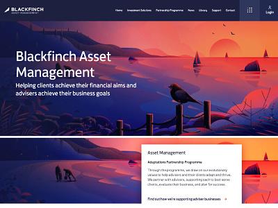 Asset management boat vector web tree coastal sunset blackfinch evening nature landscape illustration