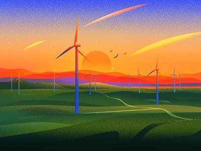 Windmill sun energy light evening nature illustration illustrations nature landscape illustration windmill