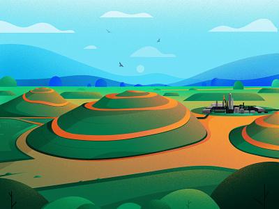Carbon Credits element markets biogas sustainability greenhouse emission gas markets vector nature landscape illustration ill carbon