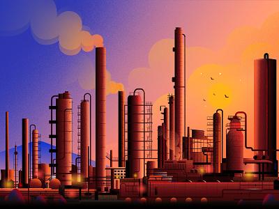 Emission city light factory fog trading global vector nature landscape illustration environment emission emission credits