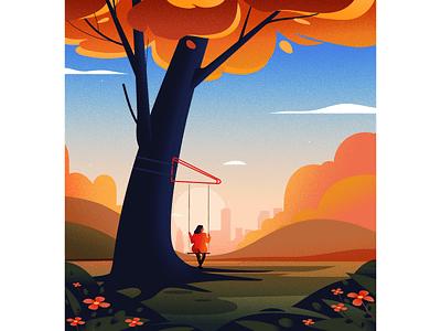 Swing vector illustrations swing tree light nature landscape illustration