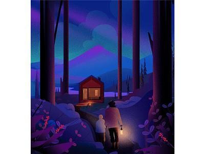 Guidelight blue night winter guidelight illustrations tree light nature landscape illustration