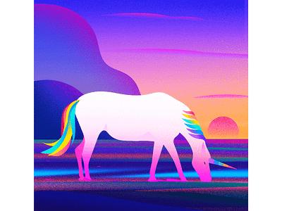 Unicorn landscape illustrations colour evening horse unicorn illustrations tree light nature landscape illustration