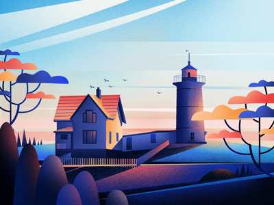 Lighthouse In Cape Neddick {York} fireart-studio illustration lighthouse