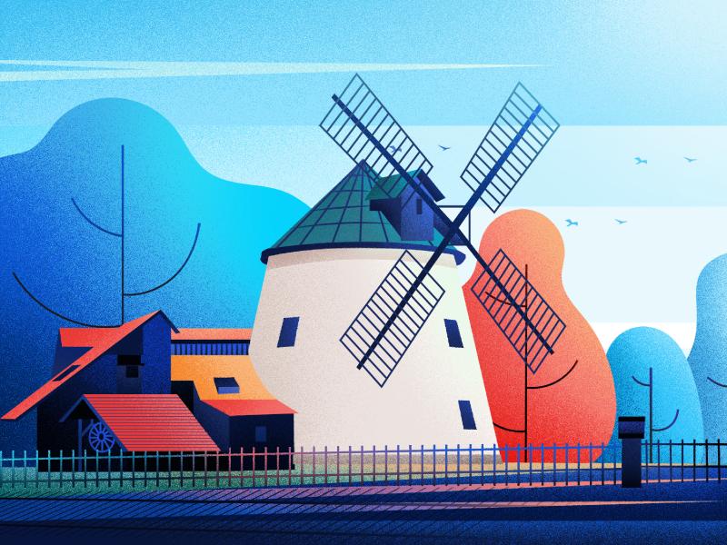 Lighthouses Windmills  (Lesná, Czech Republic) nature art illustration fireat studio lighthouse