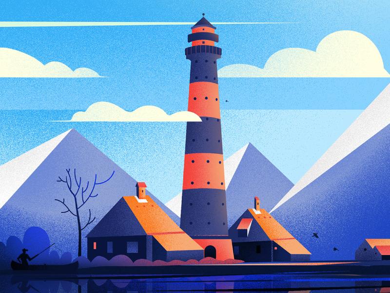 Westerheversand Lighthouse. design nature art illustration fireat studio lighthouse
