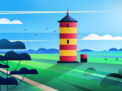 Pilsum Lighthouse_Germany green design nature art illustration lighthouse