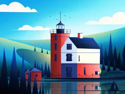 Old Round Island Point Lighthouse. design nature art fireart-studio lighthouse illustration