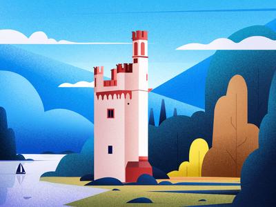 Mauseturm Lighthouse  Germany. 🌳. landscape illustrations design light art winter tree nature lighthouse illustration