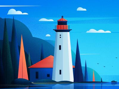 Cape Mudge Lighthouse. fireart-studio cape mudge lighthouse canada tree landscape blue nature design lighthouse illustration
