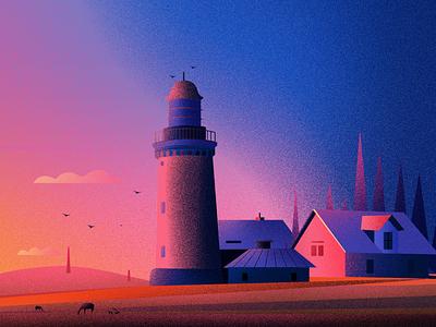 Lighthouse_Bovbjerg winter design landscape tree lighthouse illustration
