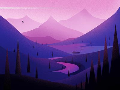 Landscapes sunset blue illustrations sky hills light art evening design winter landscape tree illustration