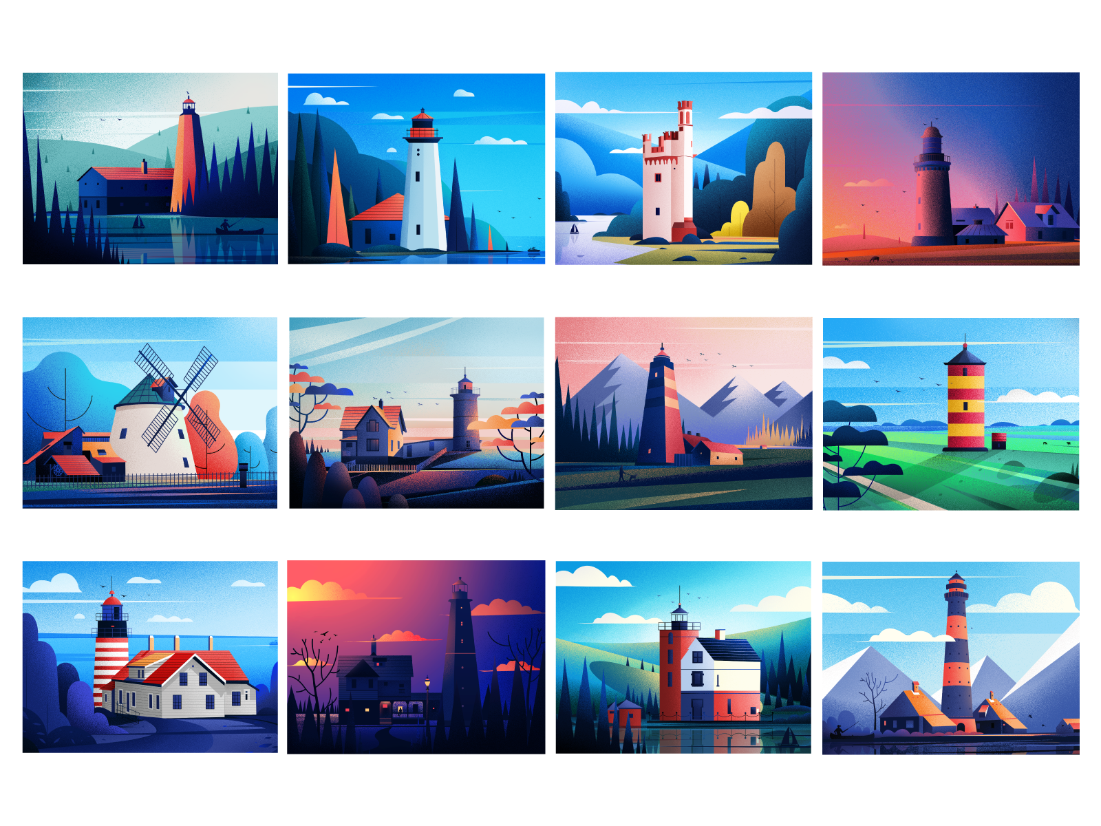 Lighthouse project. student project behance project windmills clouds hill art nature design house sunset evening blue tree illustrations winter light landscape illustration lighthouse
