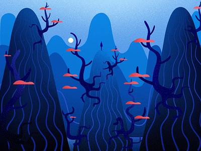 Mysterious concept design blue hill vector light tree illustrations art winter mysterious nature landscape illustration