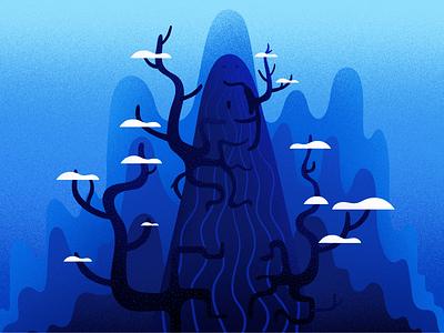 Mysterious humpback nature winter blue hill light art design illustrations landscape tree illustration