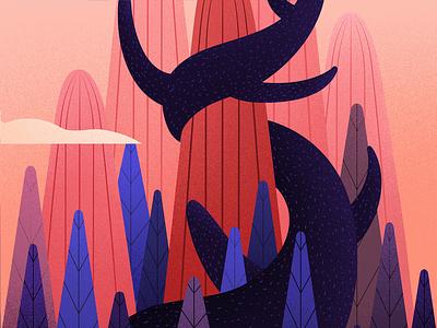 Humpback hill light tree illustrations art landscape humpback illustration