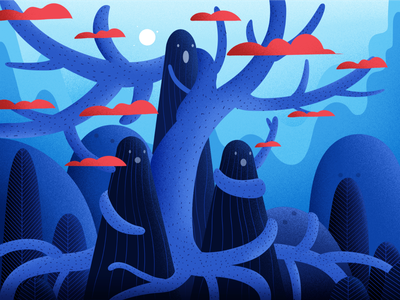 Mysterious red nature illustrations art winter hill vector blue light tree landscape illustration