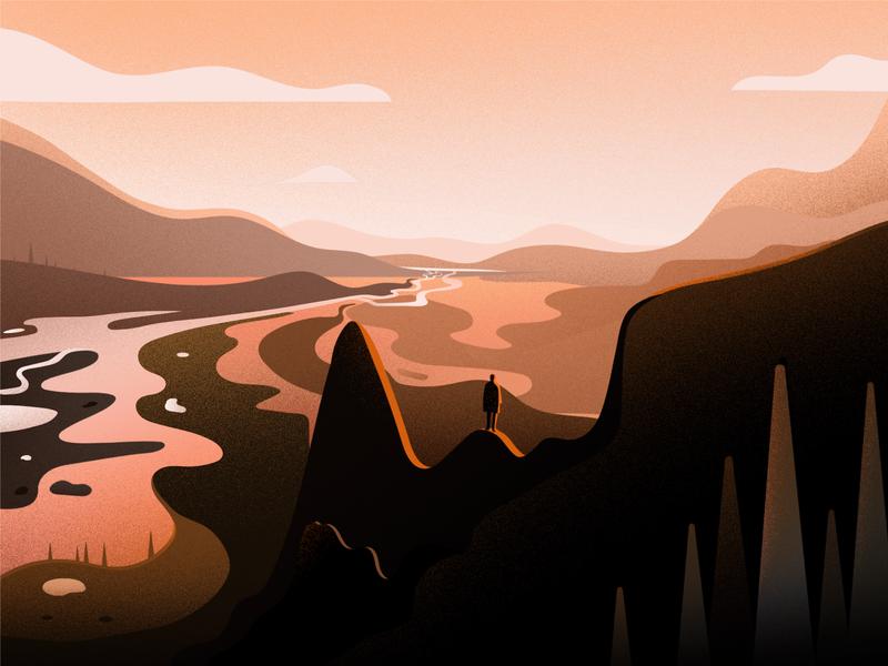 Evening hill tree river pond sunset cloud travel journey mandela evening landscape hill illustration