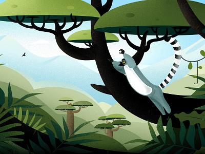 The Tale of Madagascar lemur lemurs hill vector blue light nature tree forest landscape illustrations madagascar illustration