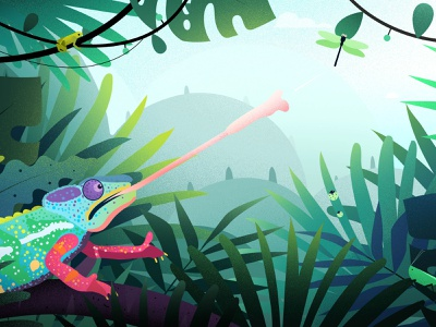 The Tale of Madagascar nature fly bugs light vector illustrations chameleons lemur landscape tree madagascar illustration