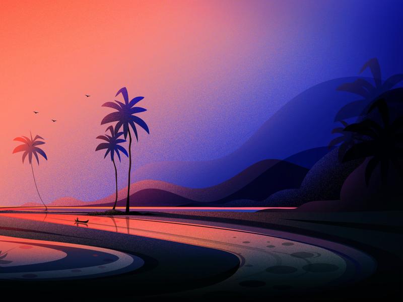 Evening From Kerala boat birds blue vector tree art nature light landscape illustrations kerala evening illustration