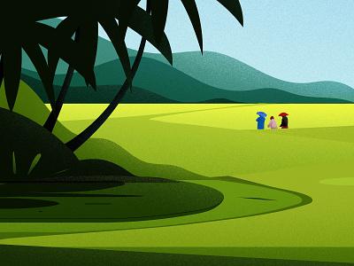Hometown india farmers tree blue green light vector hill nature illustrations landscape paddy field kerala hometown illustration