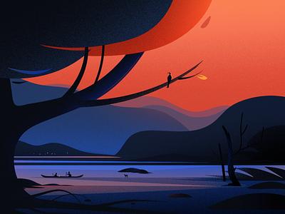 Evening from Kerala boat blue bird sunset vector light tree art hill nature illustrations landscape kerala evening illustration
