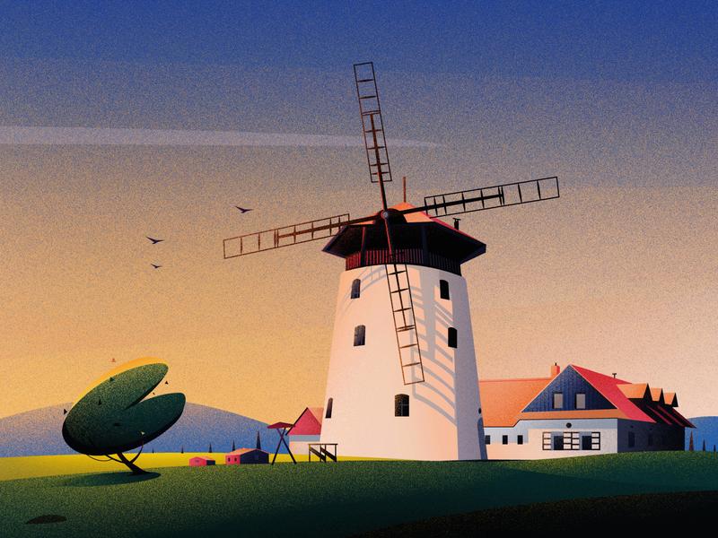 Windmill Bukovany home sunset evening art hill nature illustrations tree landscape light illustration bukovany windmill