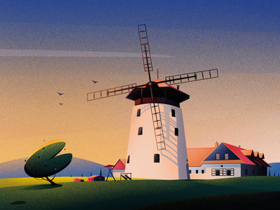 Windmill Bukovany home sunset evening art hill nature illustrations tree landscape light illustration bukovany windmill