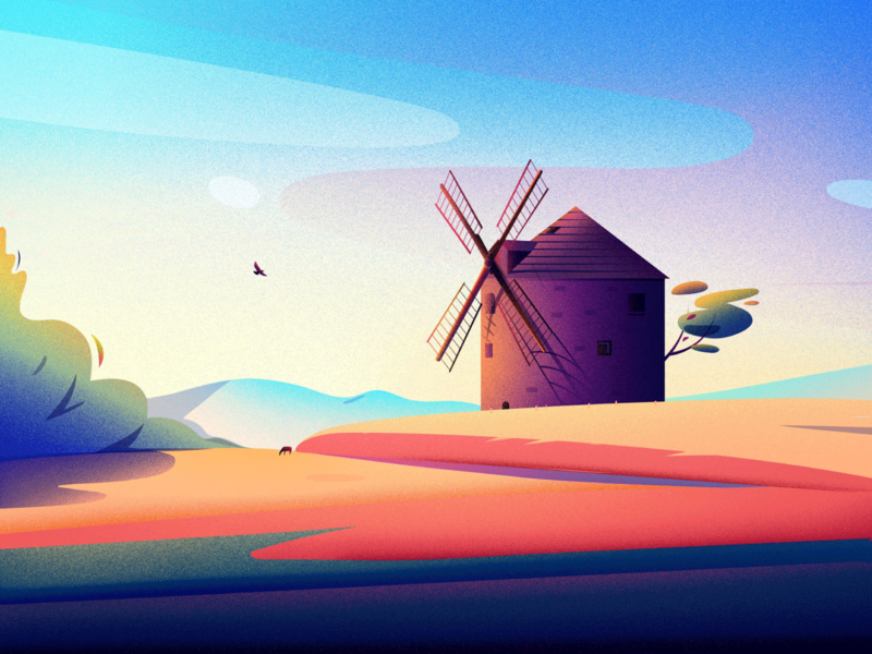 Windmill in Kunkovice hill vector colour art nature illustrations tree landscape light illustration kunkovice kunkovice