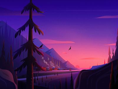 Coastal Town colour sunset vector evening town moss birds landscape light hill nature tree illustration