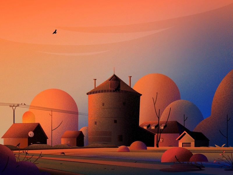 Wind mill in Němčice, colour bird sunset evening vector nature illustrations tree landscape light illustration mill