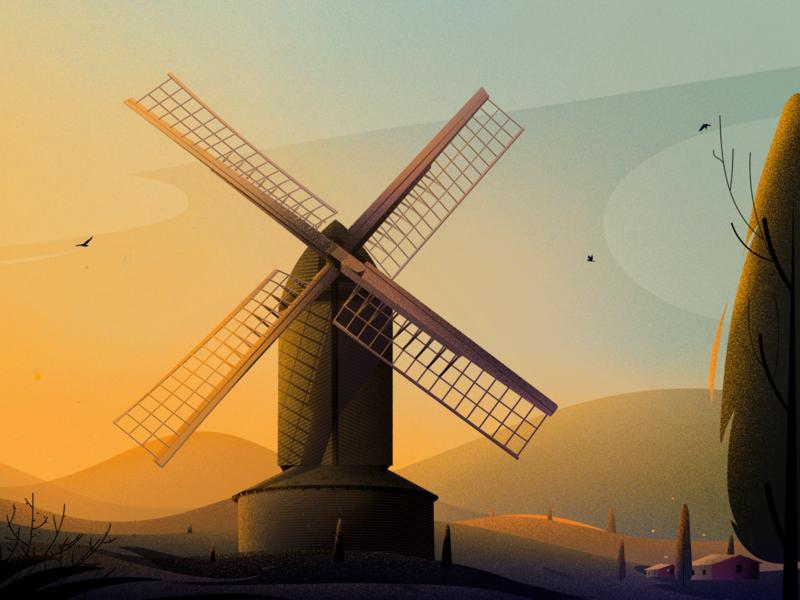 Brill windmill illustrations project cloud sky illustrator journey hill texter bird home morning light tree natureillustration nature landscape colour mill illustration