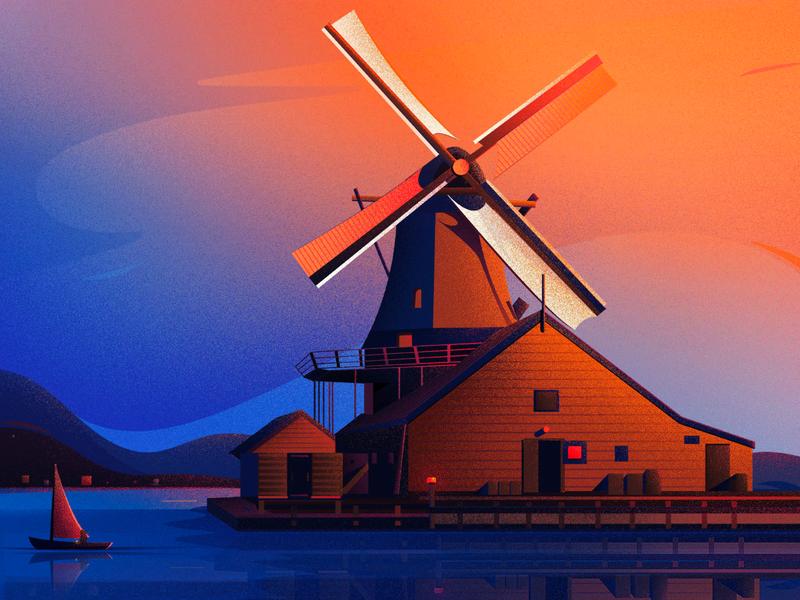 De Huisman_Mill sky bird costal boat texture sunset light blue art landscape nature illustration nature mill in zaandam mill in zaandam illustration