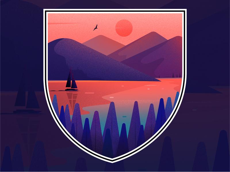 Illustration for a T-shirt design 👕 evening sunset t shirt light tree illustrations nature vector hill landscape illustration
