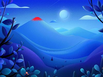 Mesozoic Moon hill clouds moonlight blue vector nature tree landscape light lava period dinosaurs illustration